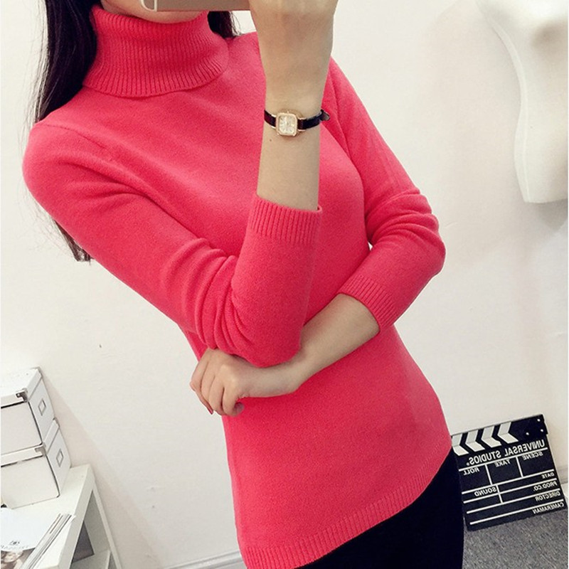 2017 Autumn Winter Women Sweaters And Pullovers Turtleneck Knitted Sweater Outerwear Pullover Tops Sueter Mujer Chandail