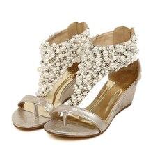 New Arrival Spring Summer Shoes  Rhinestone Zipper Pearl Beaded High Heels Women Shoes Gold Black Flip Flops Wedges Sandals
