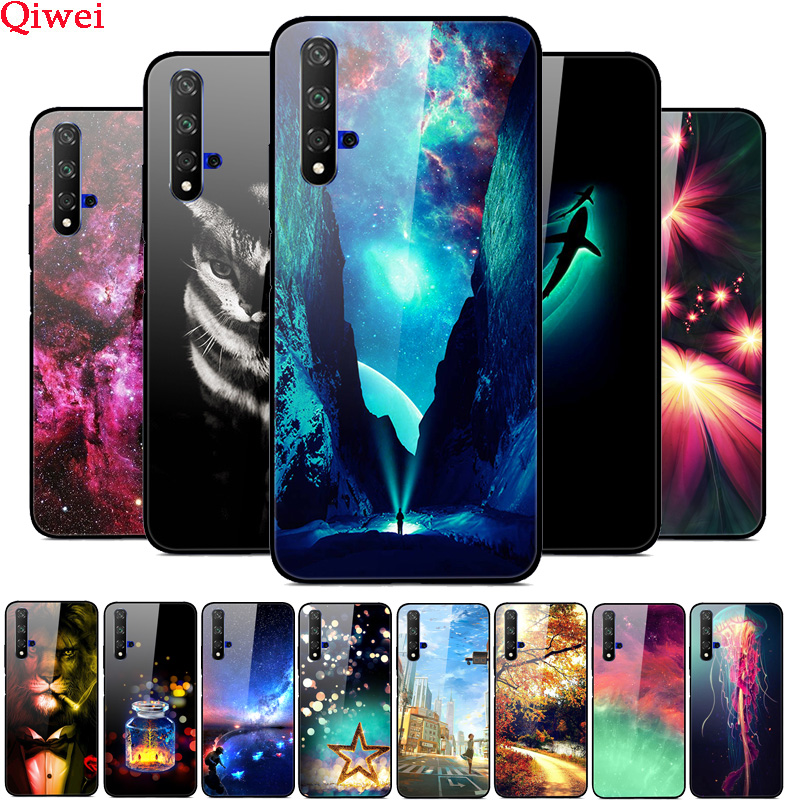 For Coque Huawei Honor 20 Case Printing Hard Back Tempered Glass Case For Huawei Honor 20 Pro Lite Honor20 YAL-L21Cover Fundas