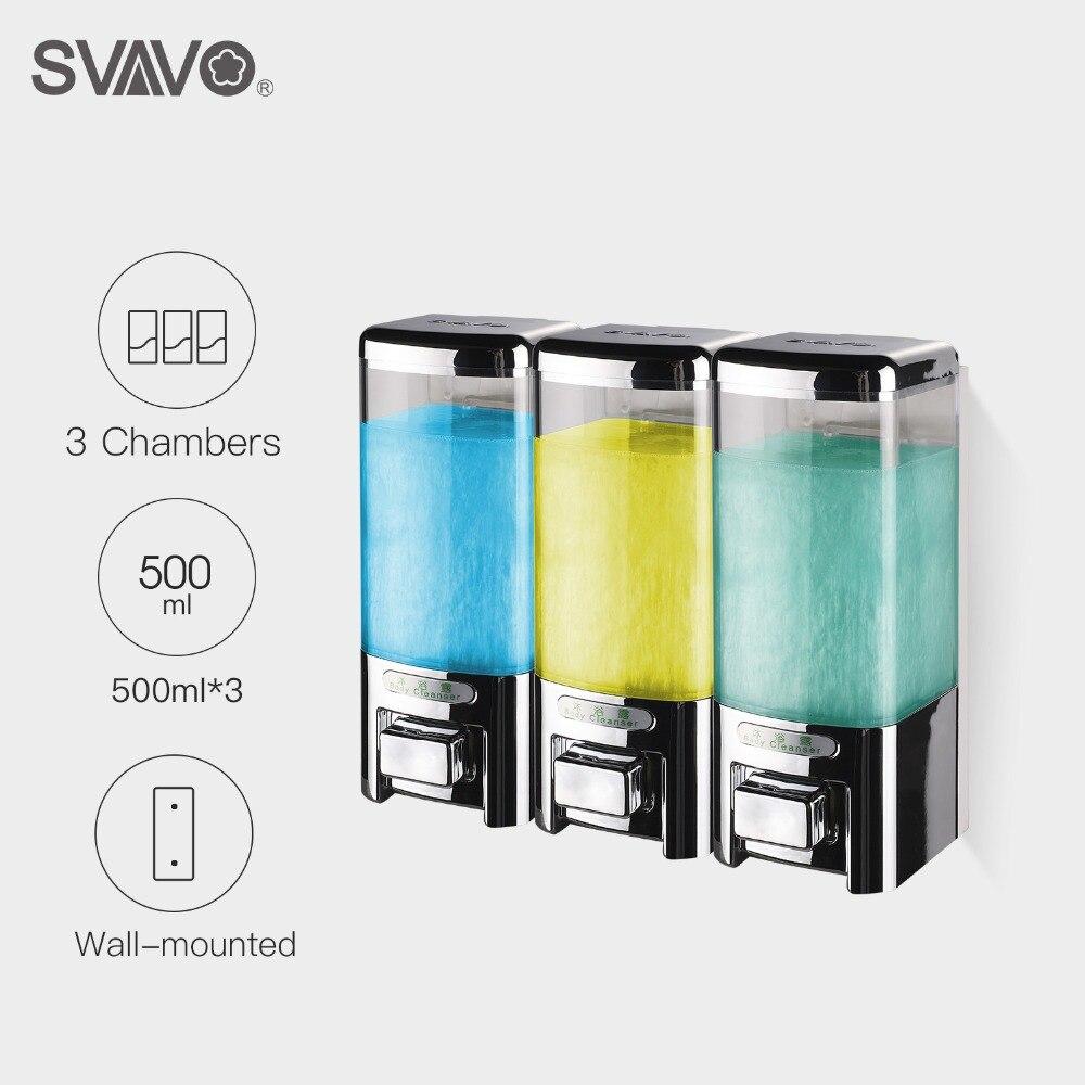 Svavo 500ml * 3 fixado na parede triplo dispensador de sabão dispensador de sabão líquido grande capacidade mão pressionando manual dispensador de sabão