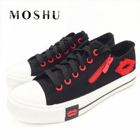 Designer Women Canvas Shoes Summer Casual Oxford Comfortable Low Wedges Flats Fashion Zipper Red Lips Chaussure
