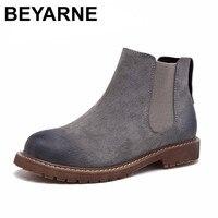 BEYARNE Veeg Kleur Mode vrouwen Laarzen Herfst/Winter Nieuwe Patroon Retro Korte Laarzen Eerste Laag Varkensleer Platte Femmes schoenen