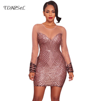 Sexy Gold Silver Sequined Mesh Dress 2017 Women Party Long Sleeve Patchwork Bodycon Short Dresses Tight