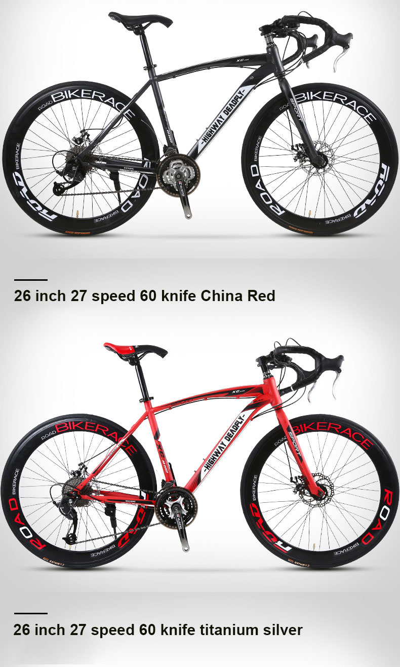HTB1aHedboT1gK0jSZFrq6ANCXXac Road Bike Fixed Gear Bicycle 26 inch 24/27 Speed Shift Bend Double Disc Brake Adult Student Men And Women