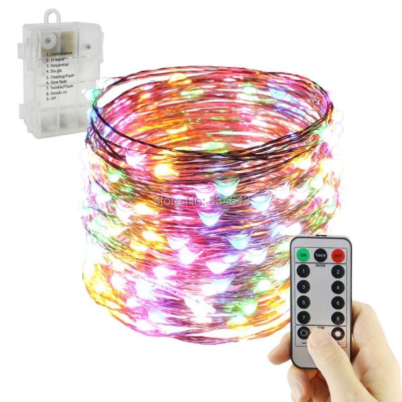 1/2/4pcs 6AA Battery Powered 20M 200LEDs Flash LED Fairy String Lights Copper Wire Dimmable Christmas Outdoor Lights+ Remote