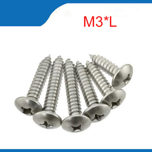 100pcs/lot M3(3mm) A2 Stainless Steel Phillips Truss Head (Cross Recessed Mushroom Head) Self Tapping Screws 2017 new real axk 100pcs m1 7 m2 m3 stainless steel electronic screw cross recessed phillips round pan head self tapping