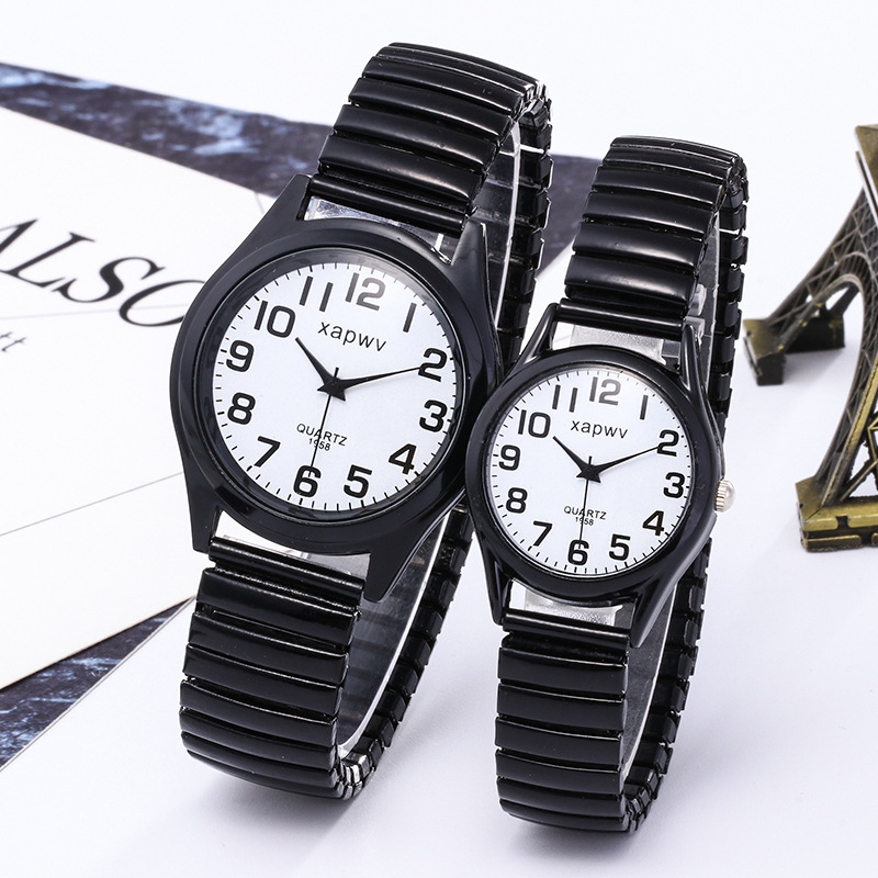 New White And Black Oil Steel Belt Men Women Fashion Lovers Watch Couple Watch Quartz Wrist Watch