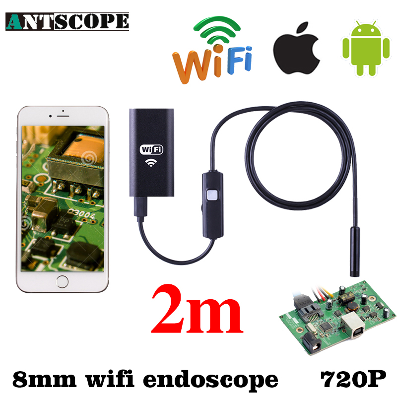 Antscope WIFI Endoscope 8mm 2m 6 LED Waterproof Android IOS Iphone Endoskop Wireless Android Camera 720P Waterproof Inspection 7mm lens mini usb android endoscope camera waterproof snake tube 2m inspection micro usb borescope android phone endoskop camera