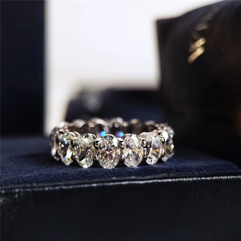 Egg shaped dia/mond row ring European and American fashion S925 silver plated row wide oval pigeon egg imitation delicate ring