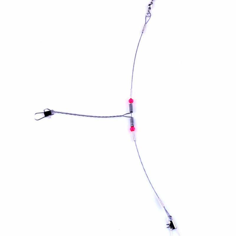 1 pièces 7 cm acier fil Leader corde ligne de pêche leurre Leader pivotant Interlock Snap Anti-morsure ligne hameçons WD-158