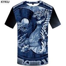 KYKU Tiger T Shirt Men Animal Yin Yang Tshirt Dragon 3d Print T-shirt Anime Clothes Funny Punk Rock Mens Clothing Summer Tops