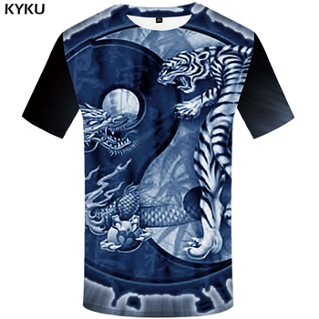 KYKU Tiger T Shirt Men Animal Yin Yang Tshirt Dragon 3d Print T-shirt Anime Clothes Funny Punk Rock Mens Clothing Summer Tops kyku indians tshirt men white feather t shirt hip hop anime clothes character 3d print t shirt punk rock mens clothing summer