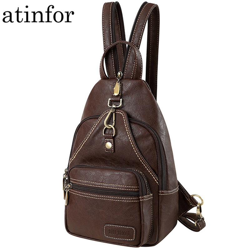 Multifunction Vintage Soft Artificial Leather Mini Backpack Purse Women Female Small Shoulder Bag Lady Daily Travel Chest Bags