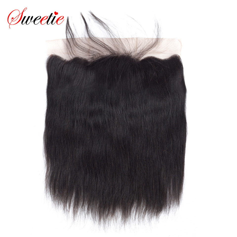 Sweetie Brazilian Remy Hair Straight Lace Frontal Closure 13x4 Pre Plucked Natural Color With Baby Hair