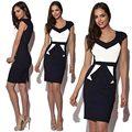 Женщины Мода Sexy Pinup Bodycon Баски Туника Dress Геометрические Лоскутное Цвет Блока V-образным Вырезом Карандаш Midi Платья