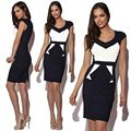 Women Fashion Sexy Pinup Bodycon Peplum Tunic Dress Geometrical Patchwork Color Block V-neck Pencil Midi Dresses