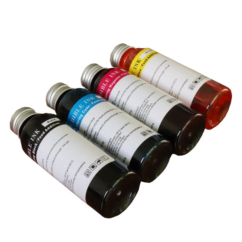 4*100ml Edible Ink New 4 colors (CMYK) For Canon Epson Desktop Inkjet Printer For Cake Chocolate coffee & food printer 100ml unblock print head nozzle for epson for brother for canon for dell for hp printer cleaner cleaning kit 100ml