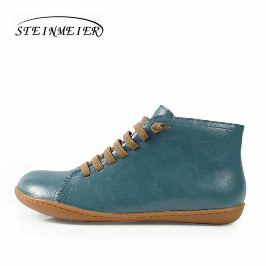 Kadın sonbahar ayak bileği kışlık botlar yalınayak balerin deri rahat rahat kaliteli yumuşak el yapımı düz ayakkabı çizmeler ile kürk