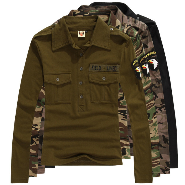 0d9ffe65b New 2017 Casual women long sleeve cotton POLO Shirts camouflage Solid  military uniform style Shirts loose womens clothing