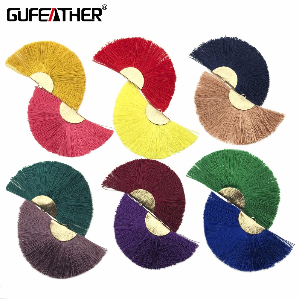 GUFEATHER L132/4CM/fan Tassel/gold  Tassels/jewelry Accessories/jewelry Making/jewelry Findings/silk Tassels/2pcs/bag