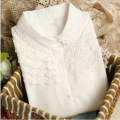 Plus size women White cotton shirt 5XL Women blouses 2016 spring new turn down collars lace long sleeve tops Chemises Femmes