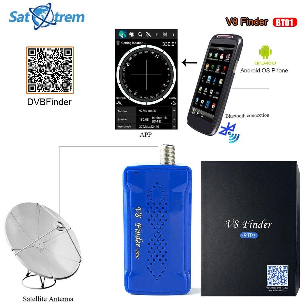 Satxtrem V8 Finder-BT01 Bluetooth DVB S2 Satellite Finder Meter With Android System App for DVB-S2 Satellite Receiver