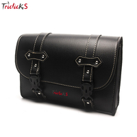 Triclick Black New Motocross Saddle Bag PU Leather Rectangle Bags Saddlebag Universal For all kinds of Motorcycle Luggage Bags