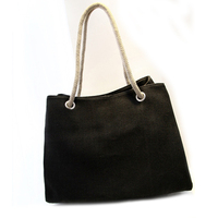 Fashion Women'S Handbag Breathable Linen Shopping Tote Bag Large Capacity Shoulder Bag Shopping Bag Durable Solid Color