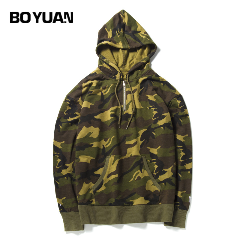 BOYUAN 2018 New Camoflage Cotton Street Wear Hoodies Men Hoodie Sweatshirt Men Hip Hop Black Casual Hooded Pullovers KT1703-05