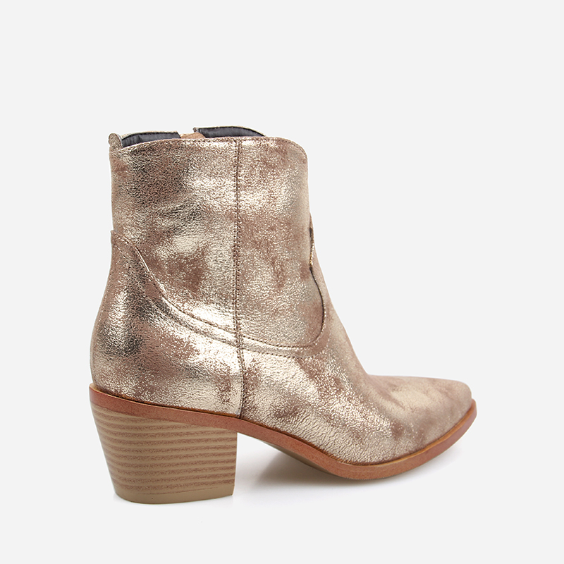 Image 5 - 2019 Spring/Autumn New Fashion Women's High heeled Retro Square heel boots Zipper Concise Pointed Toe Woman Boot Golden shoes-in Ankle Boots from Shoes