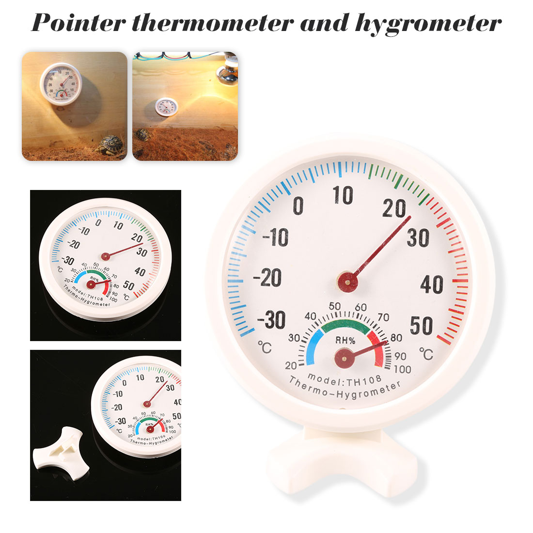 Mini Round Clock Shaped Thermometer Meter Gauge Measuring
