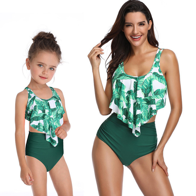 e0d324e81f0 Matching Family Mommy and Me Swimsuit Leaf Print Ruffled Mother Daughter  Matching Swimwear Summer Bikini Sexy Swimsuit