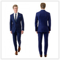 New Arriving Summer Style 100% wool classic navy blue 2 pcs two button with ticket pocket mens suits with pants