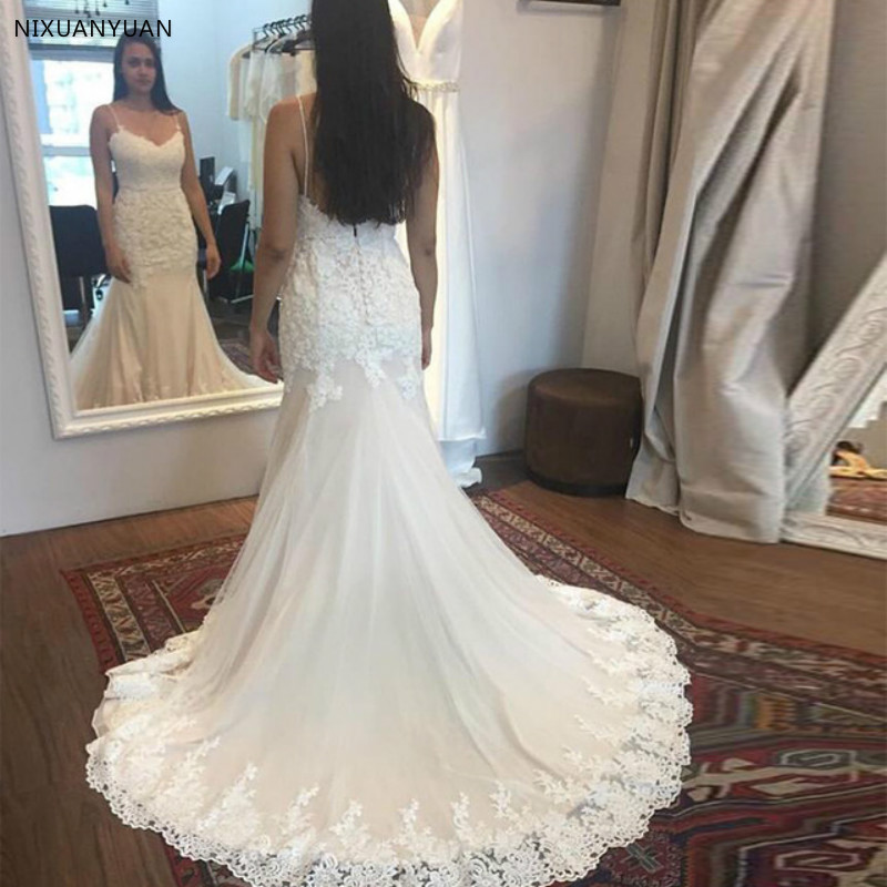 2019 Lace Appliques Mermaid Wedding Dresses Spaghetti Straps Country Style Bridal Gowns Sweep Train Plus Size Wedding Gowns