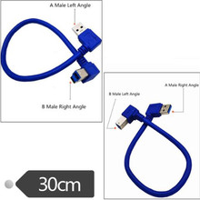 USB3.0 A male bend to B male elbow 90 degree hard disk box data cable USB3.0 cable 0.3m used in hard disk box printer scanner недорого