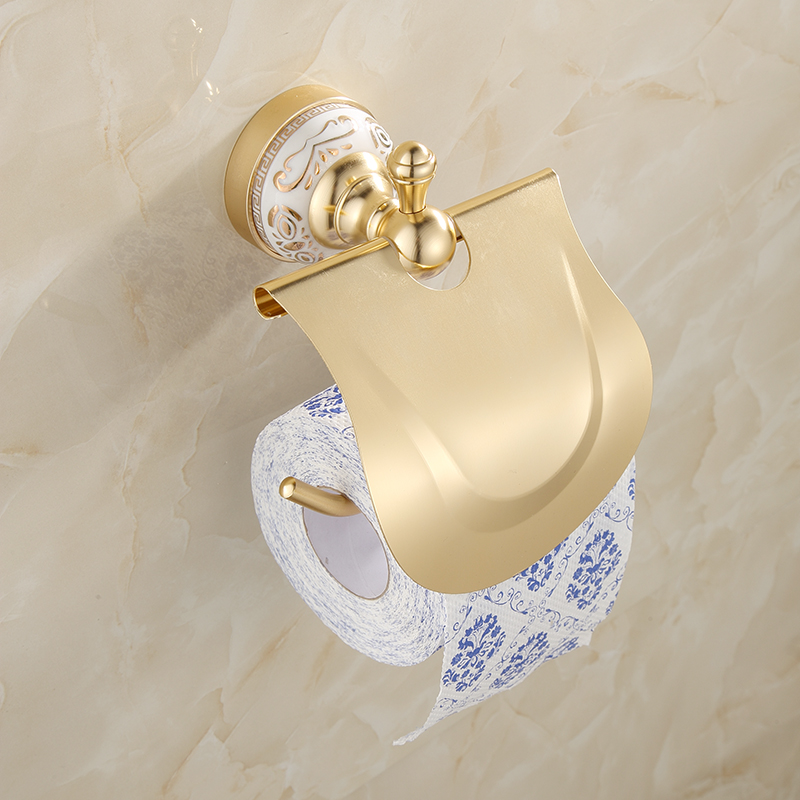 Bathroom Toilet Paper Holder With Cover Antique Brass Roll Tissue Rack Carved Pattern Base Paper Shelf Wall Mounted