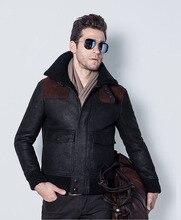 Men's Air Force Flight Suit B3 Double-Faced Fur Sheep Skin Jacket Locomotive Leather Coat