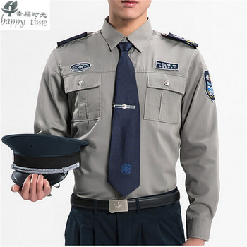 happy time  men Military shirt security clothing men blue long sleeve shirt for work us army combat military uniform