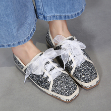 European famous brand woman silver shoes bling sequins espadrilles riband  big bow-knot flats silk 7029e9a17c0a