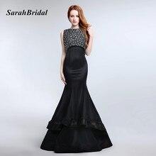 Elegant Long Black Evening Dresses Satin Mermaid Evening Party Gowns Robe De Soiree Mother of the Bride Dresses Vestido Sereia