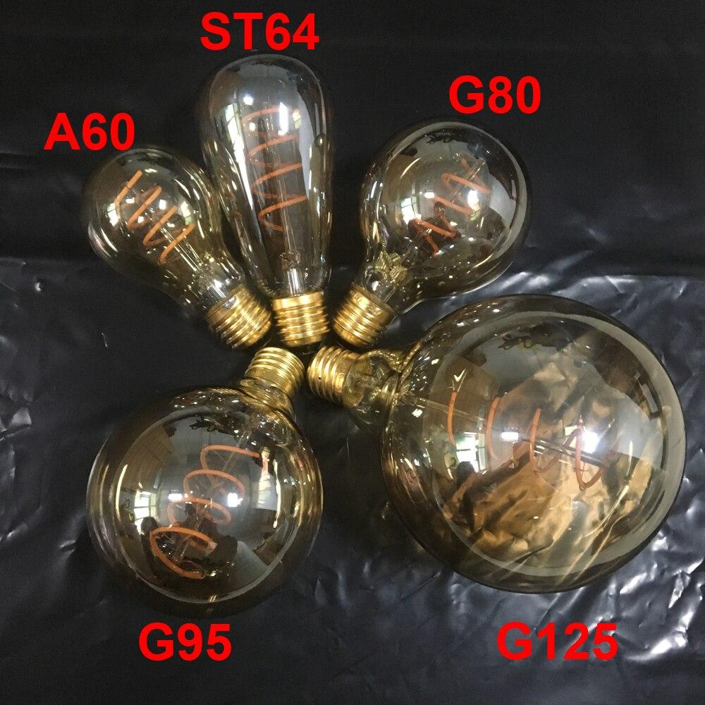 Neue Einzigartige Retro Spirale Filament Led-lampe 220 V AC A60/ST64/G80/G95/G125 Edison globus Lampe 2200 Karat Warmes Gelb Für Home Bar Shop