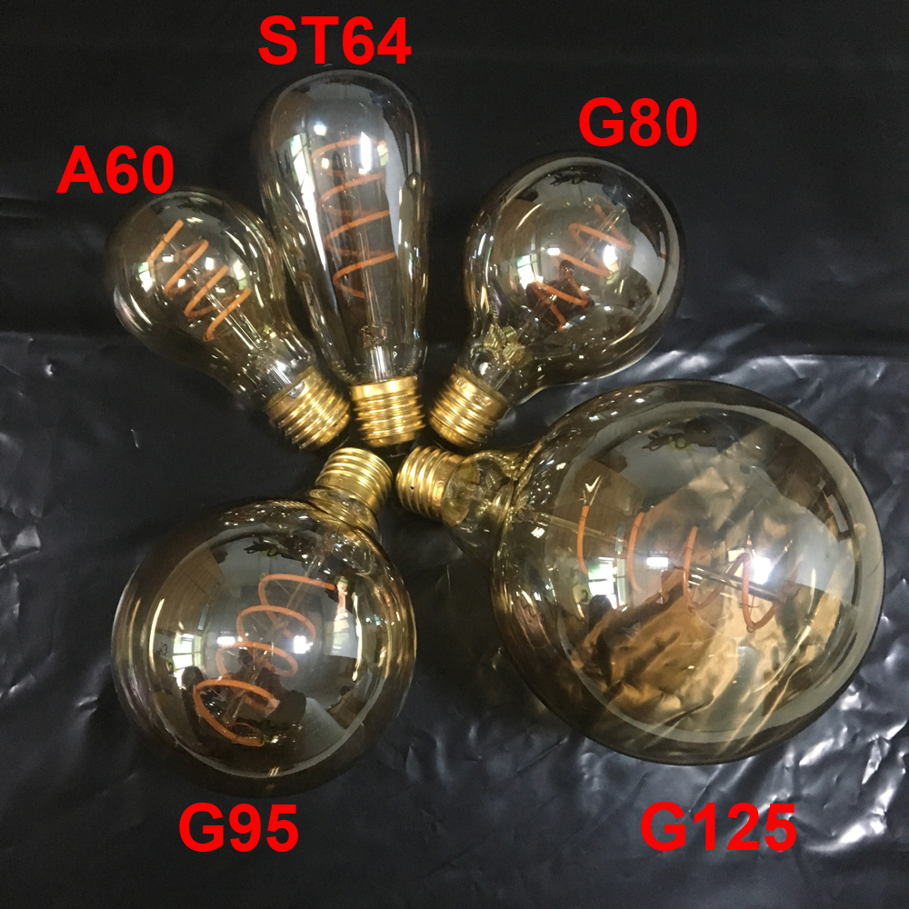 New Unique Retro Spiral Filament LED Bulb 220V AC A60/ST64/G80/G95/G125 Edison Globe Lamp 2200K Warm Yellow For Home Bar Shop винтажная лампа эдисон radio spiral g95 32 нити