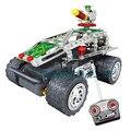 2014 Nova Diy 4 Canais de Liga de Montagem Brinquedos Educativos Brinquedo Carro de Controle Remoto Rc Tanque de Camuflagem Militar