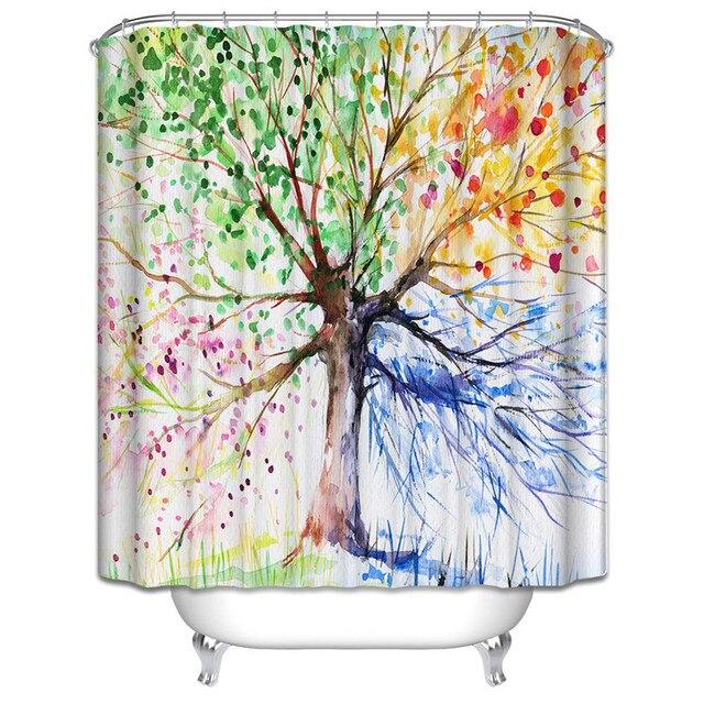 72 zoll badezimmer dusche vorhnge polyester stoff wasserflle gemalten baum vorhang wasserdicht duschvorhang mit 12 haken - Stoff Vorhang Dusche