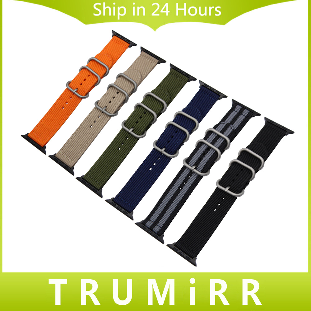 Nylon Watchband + Adapters for 38mm 42mm iWatch Apple Watch Men Women Wrist Strap Fabric Zulu Belt Canvas Bracelet Multi Colors 24mm nylon watchband for suunto traverse watch band zulu strap fabric wrist belt bracelet black blue brown tool spring bars