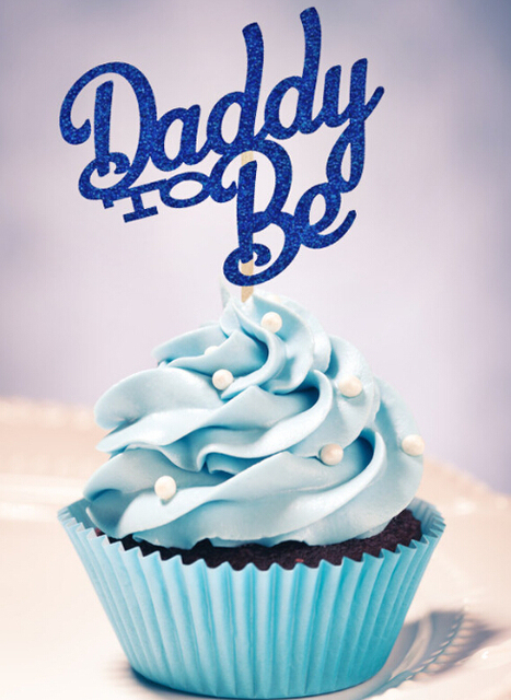 Blue Glitter Daddy To Be Cupcake Toppers Baby Shower Birthday Party