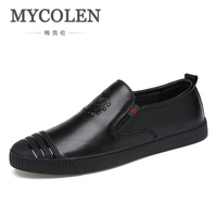 MYCOLEN Hot Sale Men Round Toe Casual Shoes Patent Artificial Leather Shoes 2018 Handmade Fashion Loafers Slip On Mens Shoes