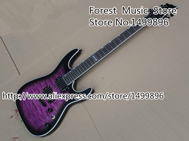Top Selling Chinese Musical Instrument Vintage Purple Tiger Flame ESP LTD MH-350 Electrica Guitarra Kits Custom Available esp ltd f 5e