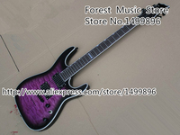 Top Selling Chinese Musical Instrument Vintage Purple Tiger Flame ESP LTD MH 350 Electric Guitarra Kits