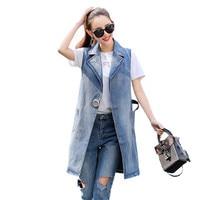 Plus Size Sleeveless Denim Long Vest Jacket Womens Colete Jeans Gilet Coat Veste Femme Vests Of Women Clothing Streetwear Weste
